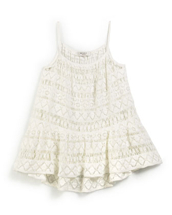 Crochet High-Low Coverup, White, Size 8-14
