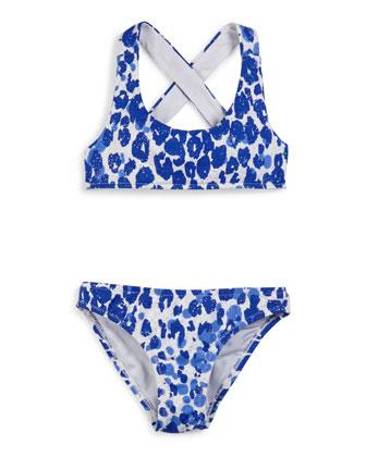 Shimmer Cheetah Cross-Back Swimsuit Set, Lapis, Size 4-7
