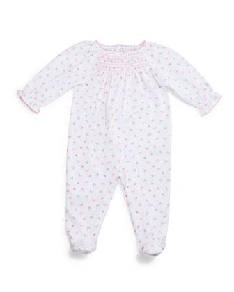 Rosy Pima Smocked Footie Pajamas, Pink, Size