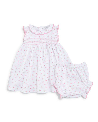 Rosy Smocked Pima Dress & Bloomers, Pink, Size 6-24 Months