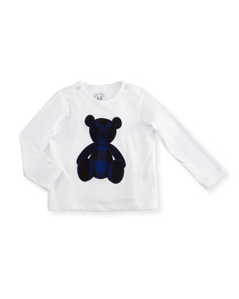 Long-Sleeve Cotton Check-Bear Jersey Tee, White/Navy, Size 6M-3