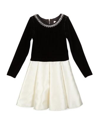 Long-Sleeve Velvet & Sateen Dress, Black/Cream, Size 4-6
