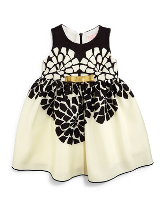 Sleeveless Geo-Floral Party Dress, Black/Cream, Size 12-24 Months