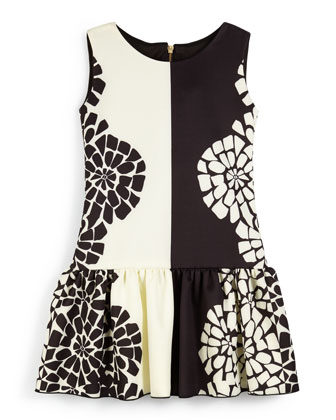 Sleeveless Floral Fit-and-Flare Dress, Black/Cream