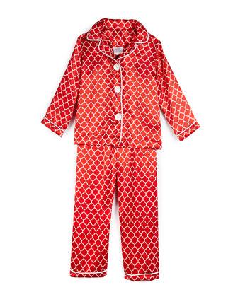Satin Quatrefoil Pajama Set, Red, Size 2-10
