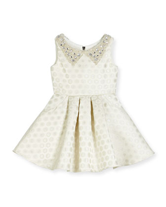 Embellished Metallic Polka-Dot Swing Dress, Ivory, Size 2-6