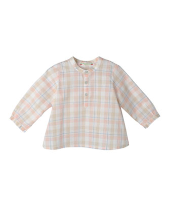 Plaid Cotton Shirt, Blue/Coral, Size 18M-2