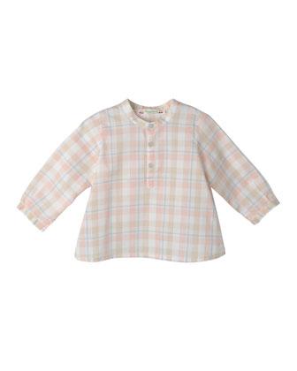Plaid Cotton Shirt, Blue/Coral, Size 6-12 Months