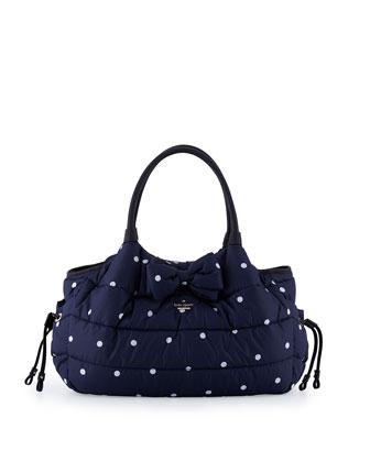 Stevie Quilted Polka-Dot Diaper Bag, Navy