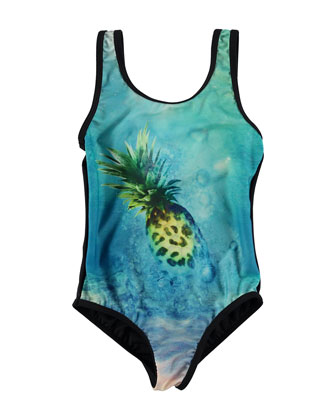 Nika One-Piece Pineapple Swimsuit, Blue/Black, Size 5-14