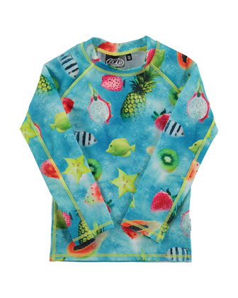 Neptune Long-Sleeve Fruit Rashguard Tee, Pink/Multicolor, Size 18M-12