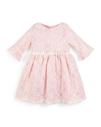 3/4-Sleeve Lace-Overlay Dress, Pink, Size 4-6