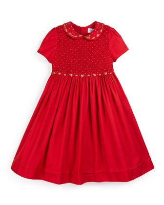 Viella Short-Sleeve Embroidered A-Line Dress, Red, Size 2-6
