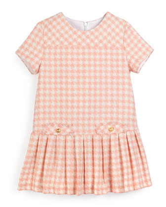 Short-Sleeve Pleated Houndstooth Dress, Salmon, Size 2-6