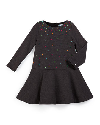 Multicolor-Dot Fit-and-Flare Dress, Gray, Size 4-10
