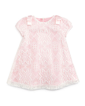 Lace-Overlay A-Line Dress, Pink, Size 3M-3
