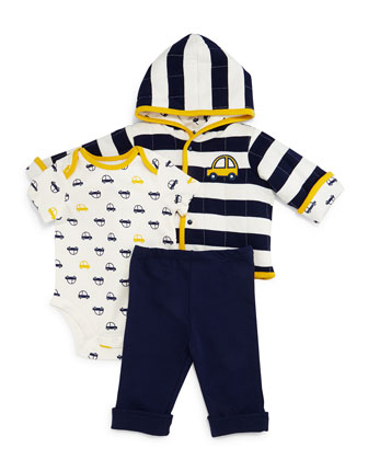 Car-Print Pima Hooded Jacket, Playsuit & Pants, Navy, Size 3-24 Months