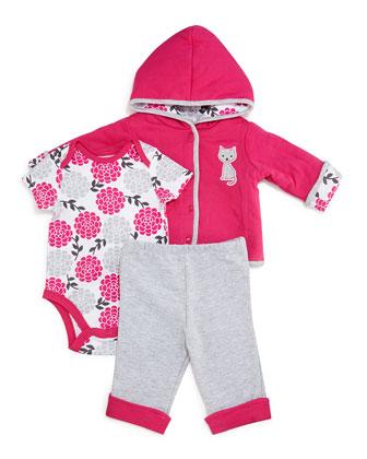 Pima Floral Hooded Jacket, Playsuit & Pants, Pink, Size 3-24 Months