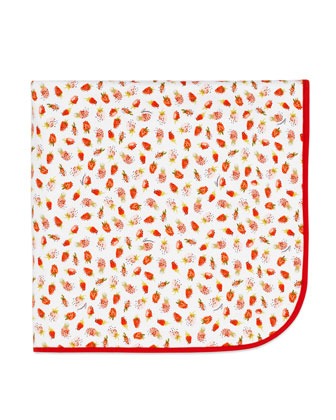 Cotton Strawberry-Print Baby Blanket, White/Red
