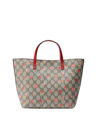 Girls' Strawberry-Print GG Supreme Tote Bag, Beige/Multicolor