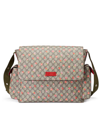 Strawberry-Print GG Canvas Diaper Bag, Beige/Multicolor