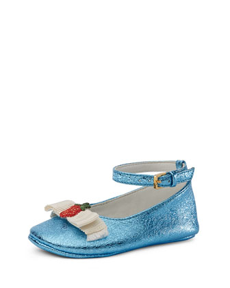 Metallic Leather Ballet Flat, Infant