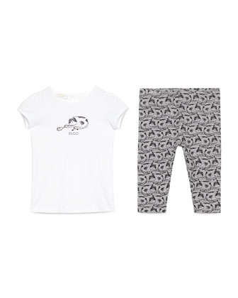 Cap-Sleeve Cat Jersey Tee w/ Printed Leggings, White//Gray/Black, Size 9-36 ...