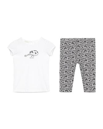 Cap-Sleeve Cat Jersey Tee w/ Printed Leggings, White//Gray/Black, Size 9-36 ...