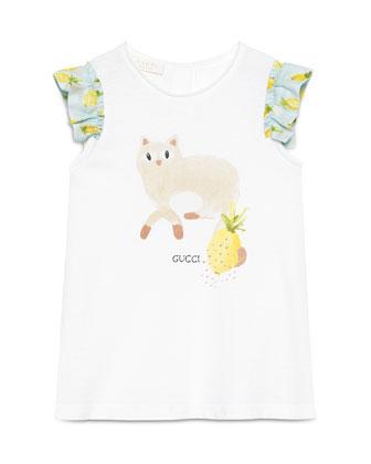 Sleeveless Cat Jersey Dress, White, Size 12-36 Months