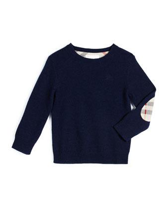 Mini Durham Cashmere Pullover Sweater, Bright Navy, Size 4-14
