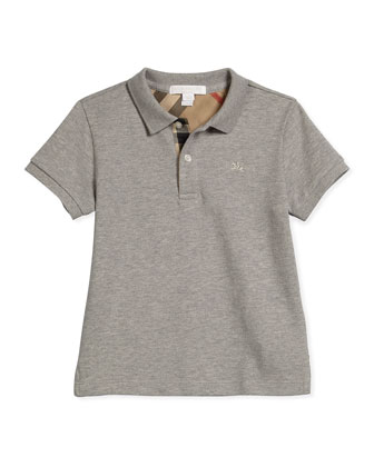 Short-Sleeve Pique Polo Shirt, Pale Gray Melange, Size 4-14