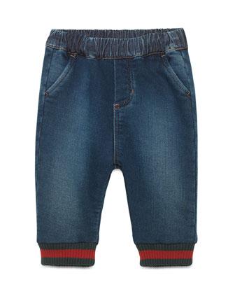 Jersey Denim Track Pants, Blue, Size 9-36 Months