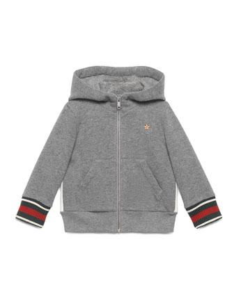 Hooded Web-Trim Sweatshirt, Gray, Size 6-36 Months