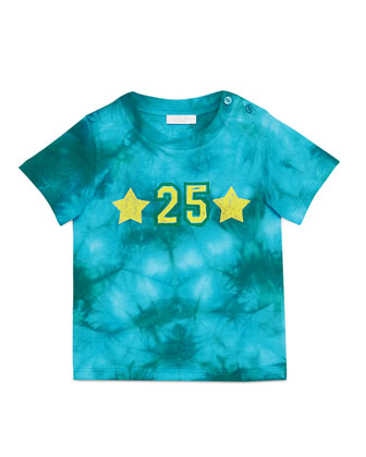 Tie-Dye Gucci Star Jersey Tee, Blue/Yellow, Size 12-36 Months