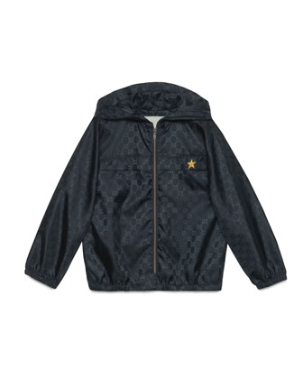 Hooded GG-Print Rain Jacket, Navy, Size 4-12