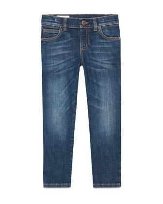 Faded Stretch Slim-Fit Denim Jeans, Blue, Size 6-12