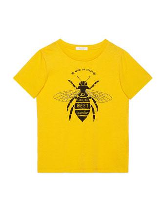 Short-Sleeve Bee Jersey Tee, Yellow, Size 6-12