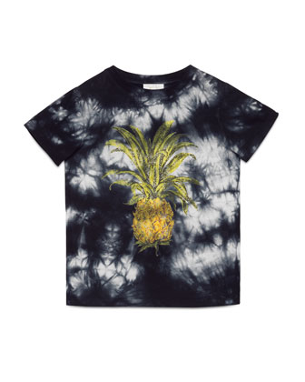 Short-Sleeve Tie-Dye Pineapple Tee, Dark Gray, Size 6-12