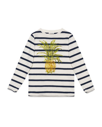 Long-Sleeve Striped Pineapple Tee, White/Blue, Size 6-12