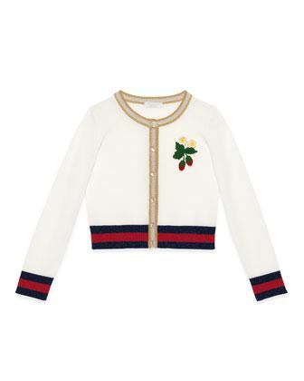 Crochet-Strawberry Web-Trim Cardigan, White/Gold, Size 6-12