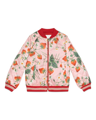 Strawberry-Print Waterproof Bomber Jacket, Pink, Size 8-12