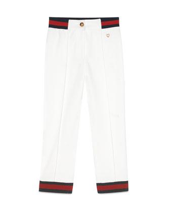 Web-Trim Track Pants, White, Size 8-12