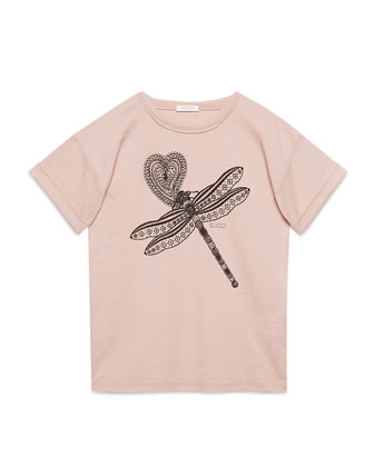 Oversize Dragonfly Jersey Tee, Pink, Size 8-12