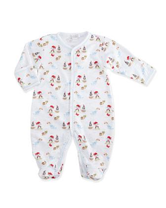 Sail Ho Printed Pima Footie Pajamas, White/Blue, Size 0-9 Months