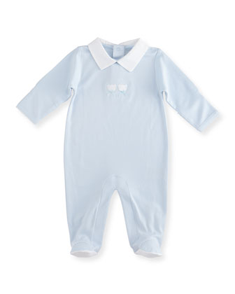 Pique Bears Pima Collared Footie Pajamas, Blue, Size Newborn-6 Months