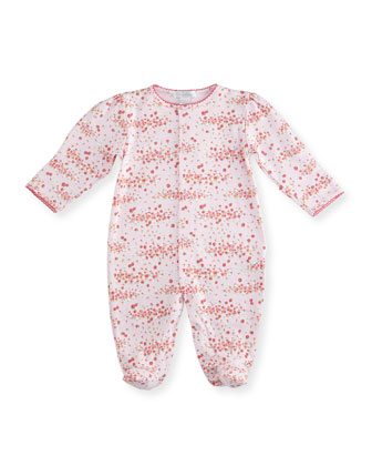 Strawberry Summer Pima Floral-Print Footie Pajamas, Pink, Size 0-9 Months
