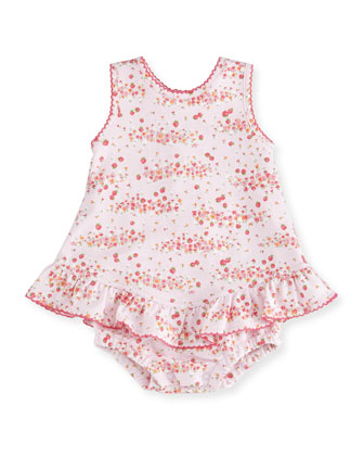 Strawberry Summer Pima Floral-Print Play Dress, Footie Pajamas & Headband