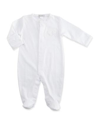 Pique Bears Pima Snap-Front Footie Pajamas, White, Size Newborn-6 Months