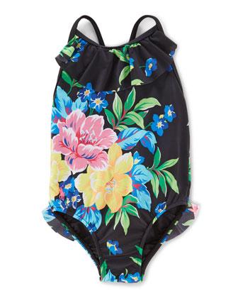 Floral One-Piece Swimsuit, Black/Multicolor, Size 9-24 Months