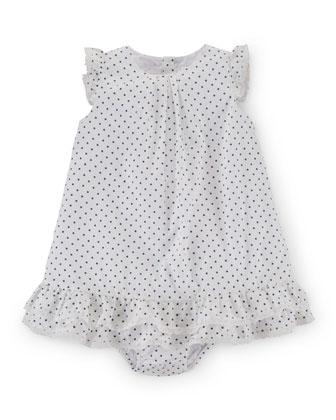 Sleeveless Pima Polka-Dot Dobby Dress w/ Bloomers, White, Size 9-24 Months